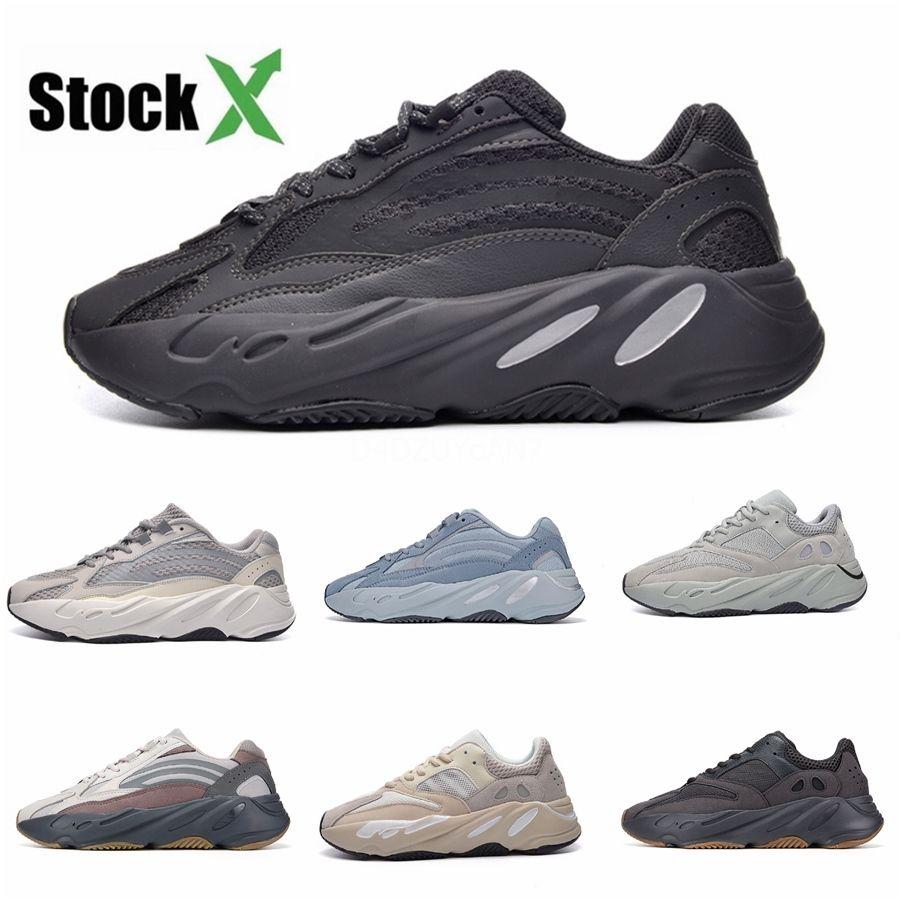 Onda Runner 700 V2 Vanta Analog estática Inércia Cinza contínuo malva Mulheres Kanye West Running Shoes Mens Trainers Sneakers Esportes Tamanho 36-4 # QA510