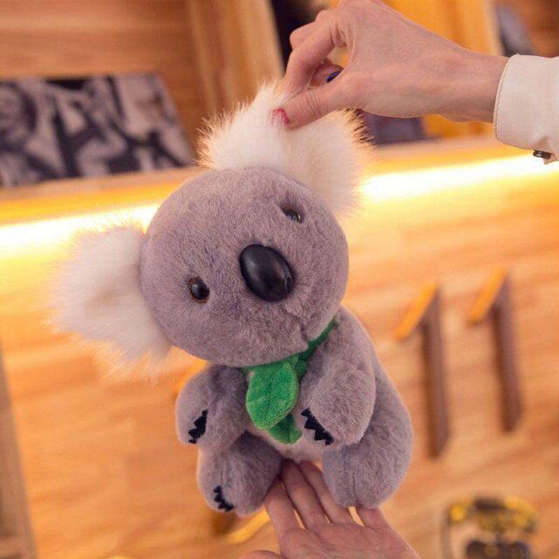 Simulation Koalas stuffed animals high quality plush Koalas with green scarf Cute grey bears toys for baby Children birthday