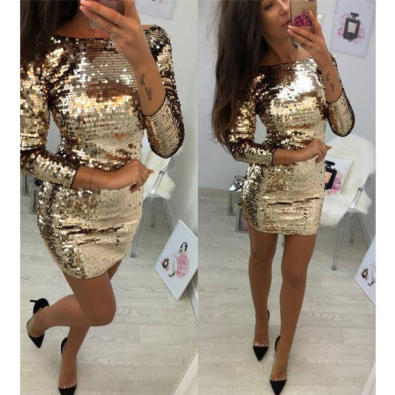 Ladies formelle Soirée Sexy Party Sequin Club Short Robes sexy Robes Robes Femmes Automne d'or Paillettes Robe moulante