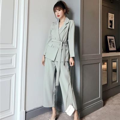 FMFSSOM Printemps solides de bureau Ladies Jupettes Ceinture à double boutonnage Blazers + long Slim Straight Pants 2 Pieces Femmes Femme