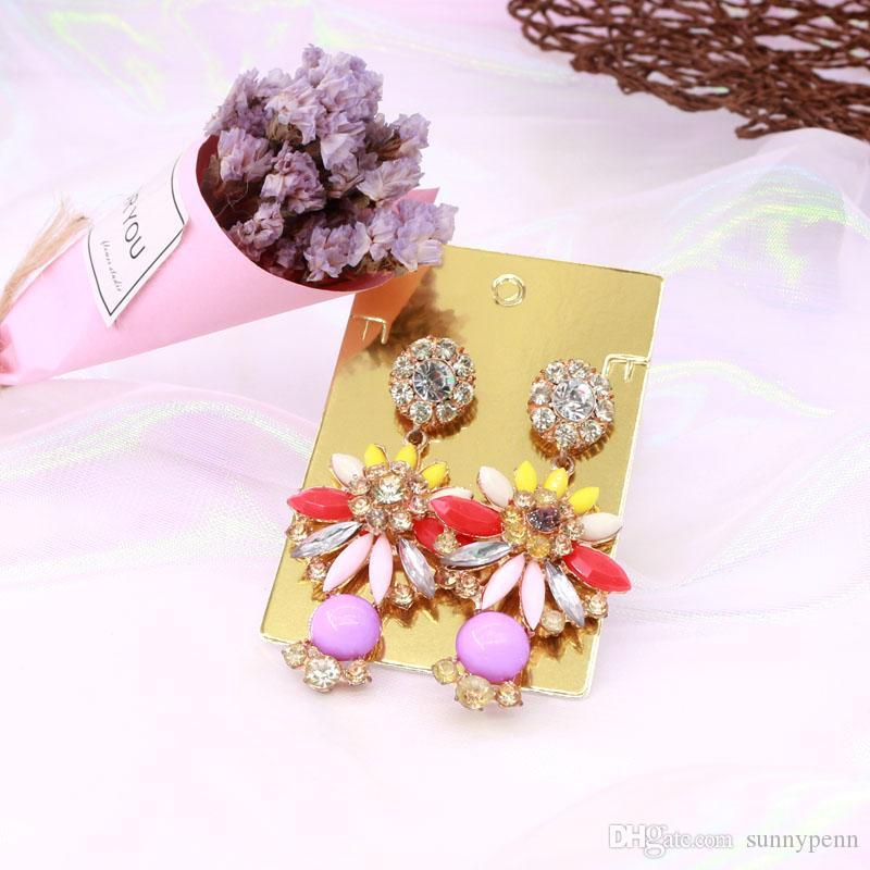 500 قطع 6 * 9 سنتيمتر ذهبي اللون عالية الجودة الأزياء والمجوهرات مربط بطاقة eearring معلقة العلامات ورقة عرض بطاقة