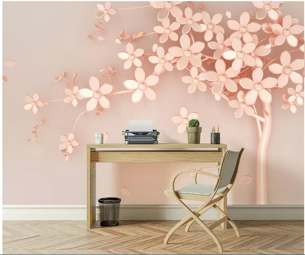Wdbh 3d Wallpaper Custom Photo Rose Gold Flower Luxury Tv