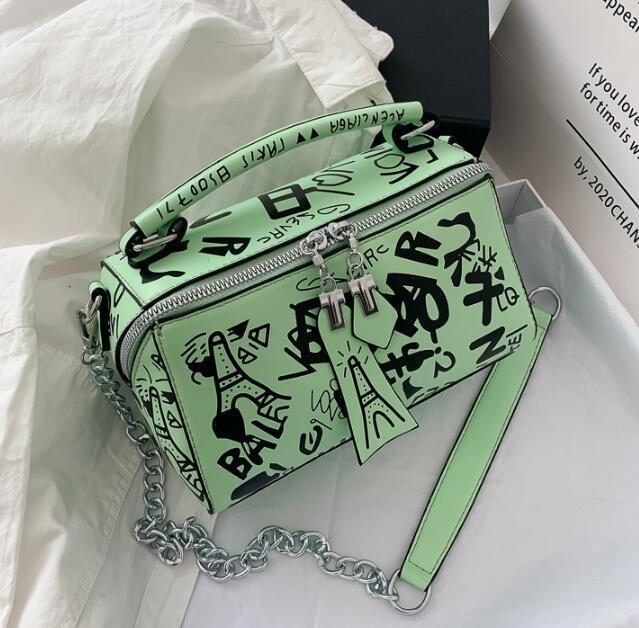 Designer Luxus-Handtaschen Portemonnaie Frauen-Sommer-Beutel-Art- und Graffiti-Kette Schultertasche Damen Paris Graffiti Totes