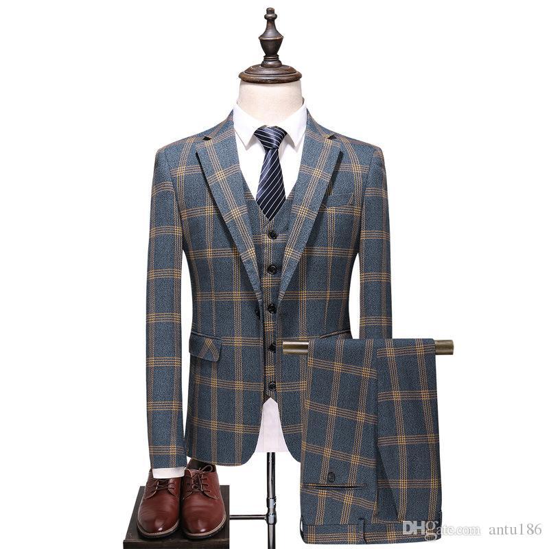 Erkek takım elbise üç parçalı takım elbise (ceket + pantolon + yelek) ilkbahar ve sonbahar yeni erkek iş ekose gündelik elbise erkek balo parti kaliteli elbise