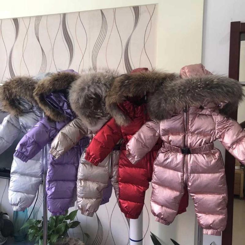 -35 graus inverno russo Macacões roupas infantis para baixo meninos jaqueta outerwear casacos engrossar snowsuits Meninas impermeáveis