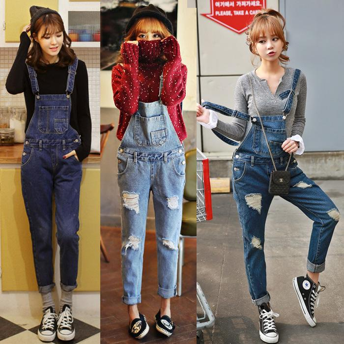 Womens Jeans Pants Hole Autumn Girl Ankle Length Overalls Jumpsuit Trousers Women's Clothing Denim Jeans Trousers