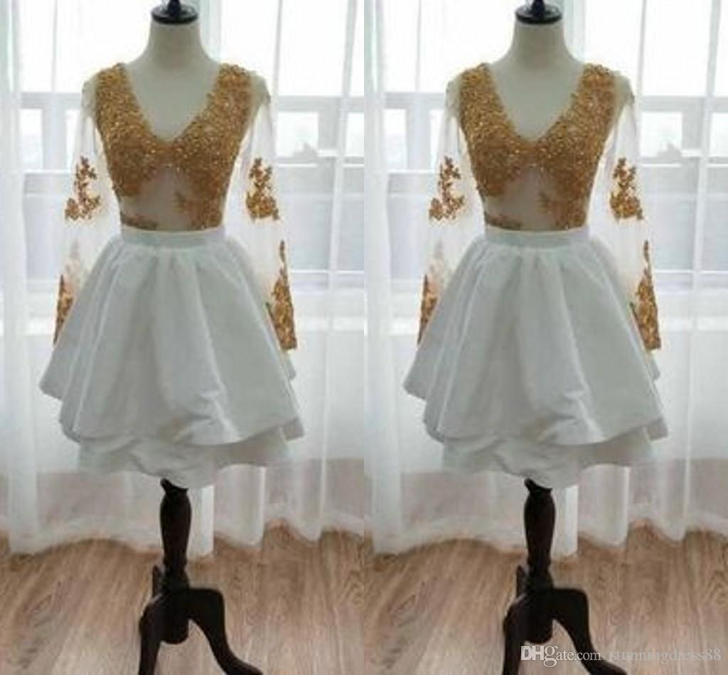 2021 White and Gold Lace Short Cocktail Prom Dress Real Photo Long Sleeves V neck Satin Evening Bridesmaid Homecoming Party Dress Cheap