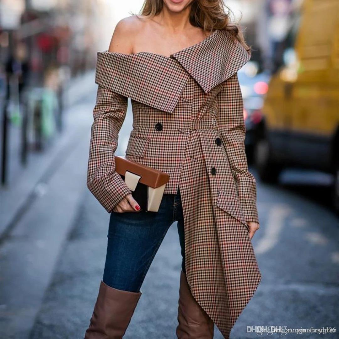 Womens Pullover Designer Trench Primavera a maniche lunghe a quadri stile di stampa femminile di modo dei vestiti di modo di stile casual Abbigliamento