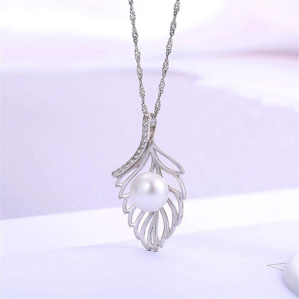 Büyüleyici Tüy S925 100% Katı Gümüş Inci Kolye Kolye Ayarları Montaj Yarı Dağı kadın DIY Takı Bulma Hediye DZ078