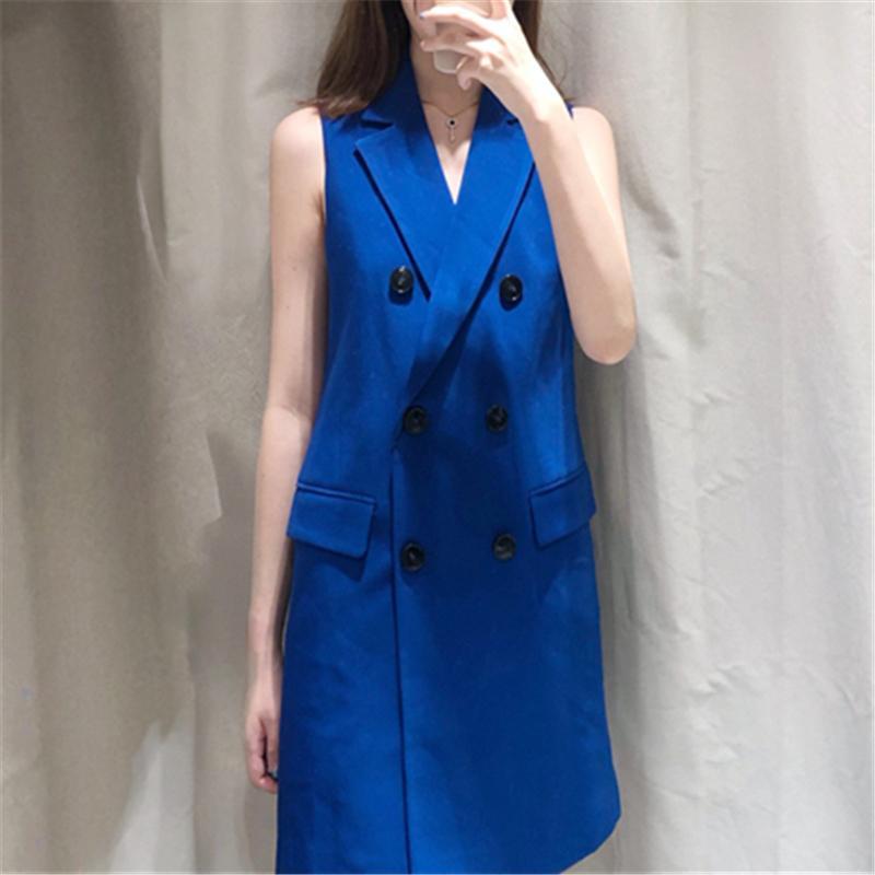 الشتاء سترة المرأة بلا أكمام السترة سترة صدرية السيدات الأزرق خمر بليزر طويل بلا أكمام سترة الكورية سترة المرأة 2019