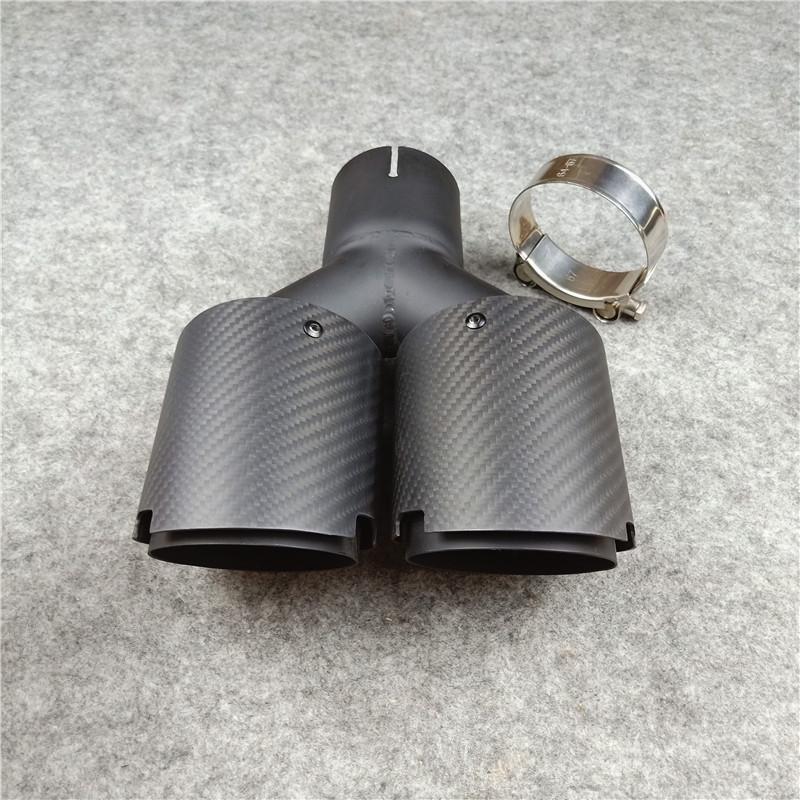 Universal Araç Geri Susturucu boru için Mat Titanyum Siyah Y Modeli Çift Egzoz ipuçları Mat Karbon fiber + Paslanmaz çelik