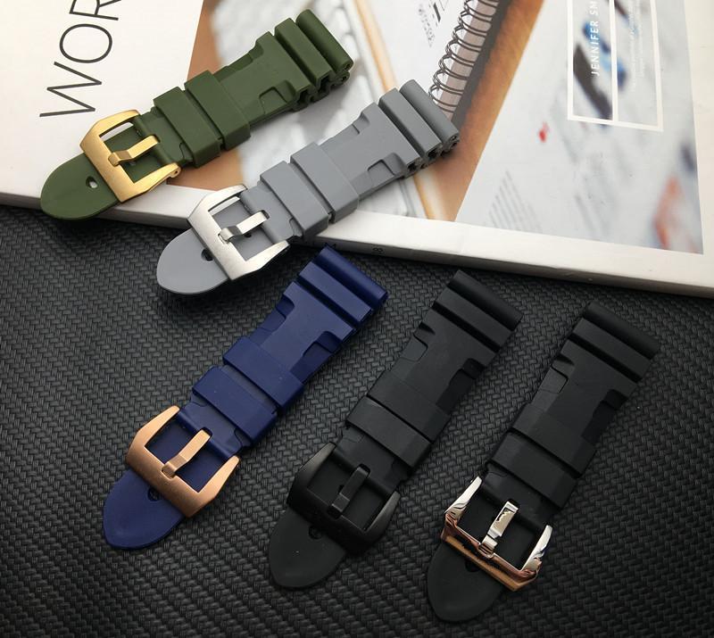 스트랩 도구 강철 핀 버클 로고를위한 24mm의 26mm 블랙 블루 레드 그린 시계 밴드 실리콘 고무 손목 시계 적합