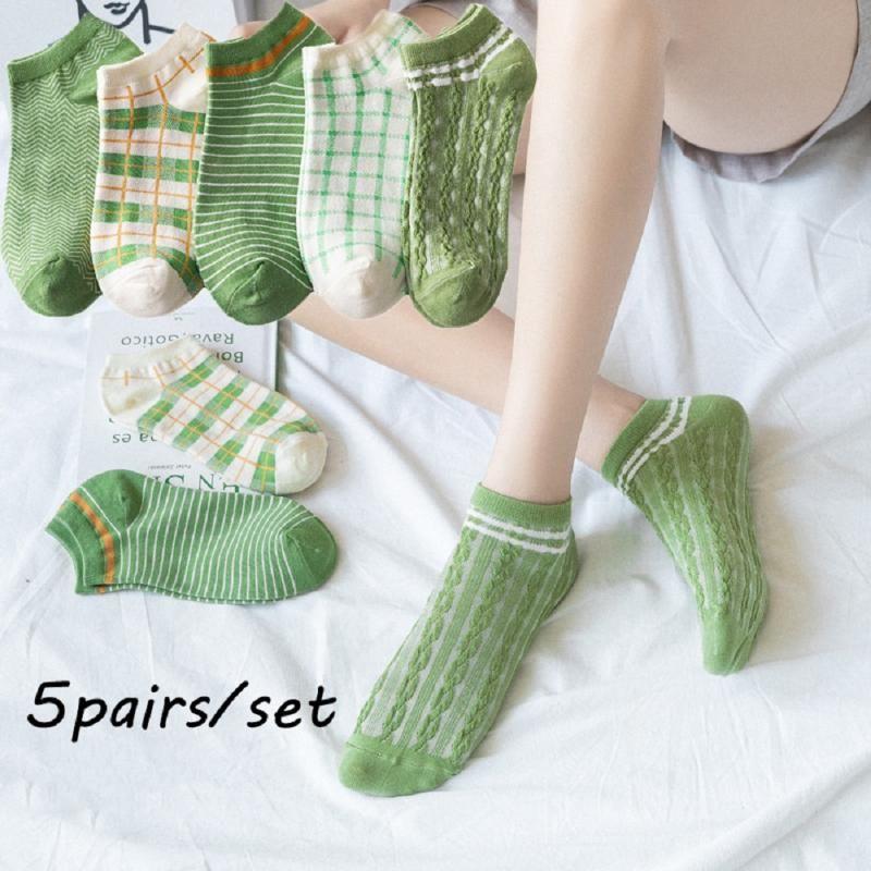 5pairs / set Frauen Breathable Tripe Sports Short Socken Fashion Streifen Baumwollsocken unsichtbare Anti-Rutsch-Socken-Boot