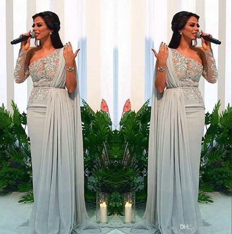 Un hombro árabe gasa vestidos de noche largos 2019 apliques de encaje vaina tren de barrido fiesta formal vestido de fiesta desgaste