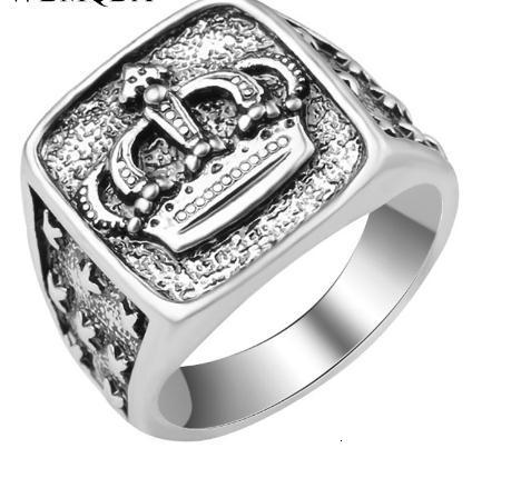 패션 스타 크로스 크라운 링 남성 액세서리 빈티지 펑크 큰 인장 반지 골동품 실버 쥬얼리