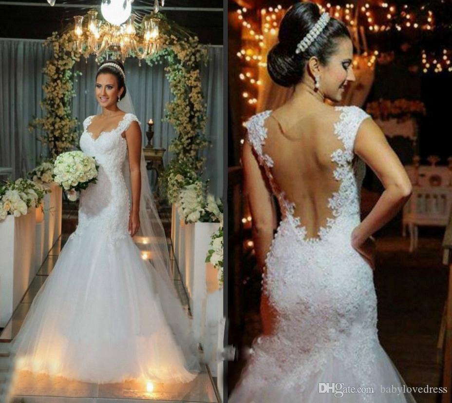 Clássico Branco Luxo Lace Sereia Vestidos de Casamento Inbal Dror Sexy Backless Vestidos de Noiva Apliques Frisado Capela Trem Vestidos de Novia