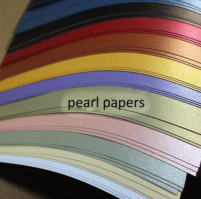 100pcs / lot tamanho A4 21 * 29,7 centímetros 250g 11colors papel papel da pérola dupla pérola para escolher, embalagem de presente caixa DIY