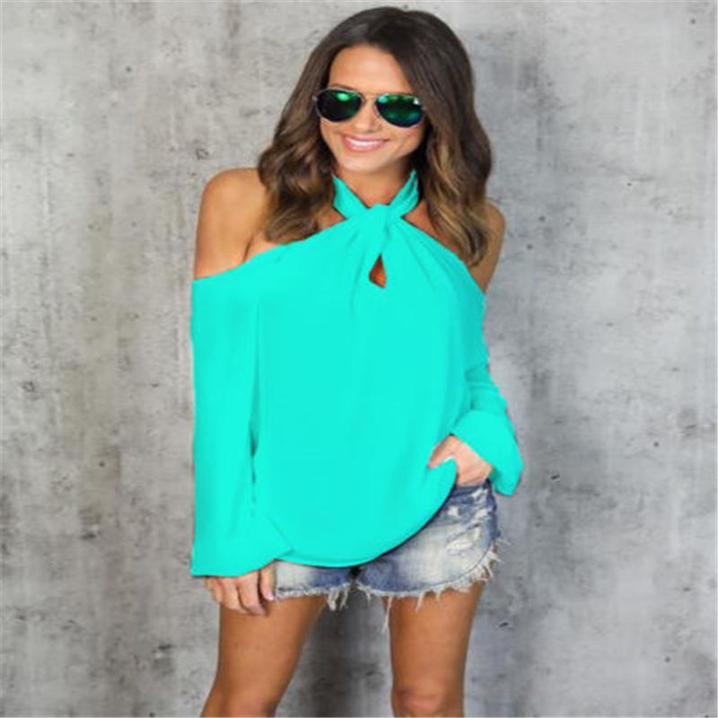 Kadın Bluz Gömlek Kadınlar Seksi Kapalı Omuz Bluz 2021 Yaz Bayanlar Halter Uzun Kollu Şifon Üst Katı Nedensel Gevşek Blusas Artı Siz