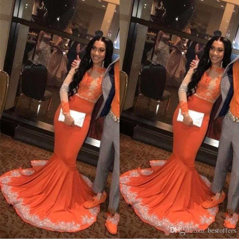 Sexy Africana Árabe Negro Niñas Sirena Naranja Vestidos de Baile 2019 Manga Larga Encaje Applieque Tallas grandes Pareja más vestidos de noche de talla BC0902