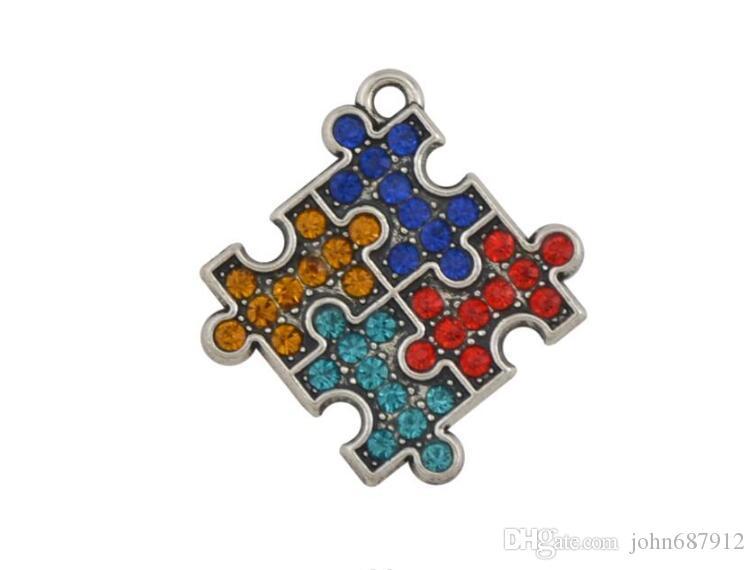 JF087 Wholesale 5pcs Fashion Antique Silver Plated Colorful Crystal Puzzle Piece Necklace Amulet Pendant Charms 26mm*28mm