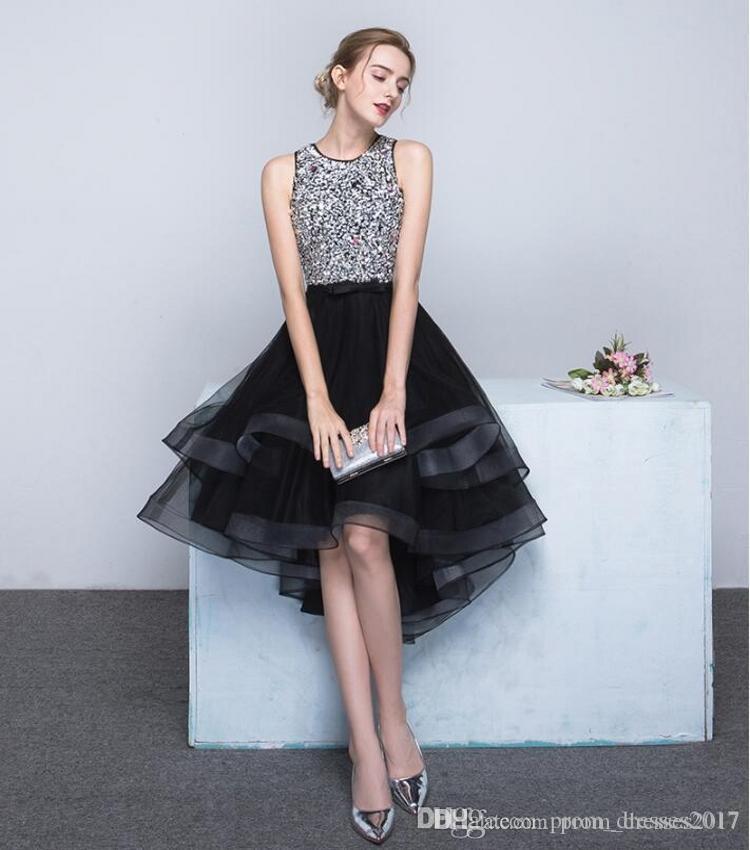 2020 Custom Feito Curto Vestidos Homecoming Jewel Pescoço Cap Sleeves Beads Ruffles Personalizado Feito Alto Vestidos de Prom