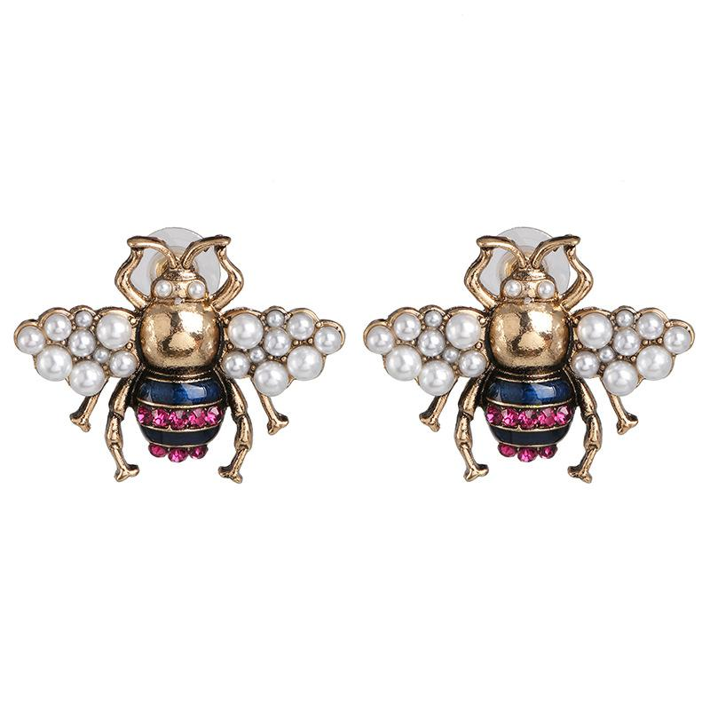 2020 مصمم الأزياء النحل وأقراط للنساء فاخرة سبيكة اللؤلؤ خمر النحاس النحل نمط حلق مجوهرات هدايا