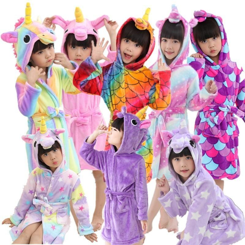 Kids Boys Girls Winter Pajamas Romper Bath Robe Hooded Kigurumi Cosplay Animal