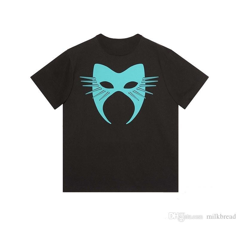 Роскошные мужские Дизайнер Футболка Мужчины Женщины маска Летняя футболка Hip Hop Черный Белый с коротким рукавом S-2XL