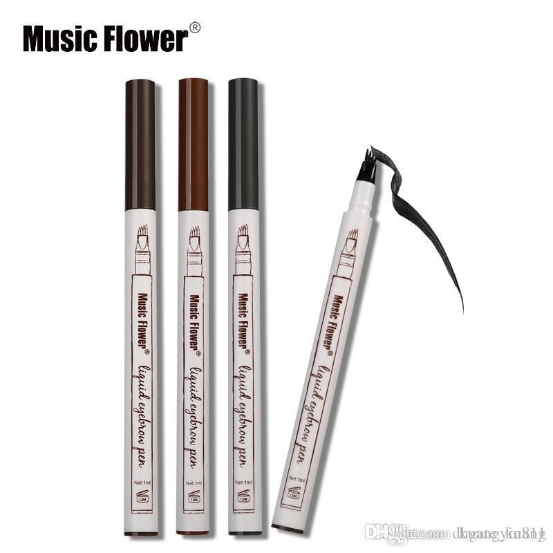 새로운 도착 메이크업 음악 꽃 액체 아이 브로우 펜 아이 브로우 향상제 3 색 4 헤드 눈썹 증강 인자 방수