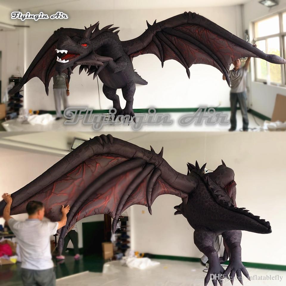 تخصيص هالوين نفخ الحريق القديم التنين نموذج 4 متر شنقا الأسود الطائر التنين pterosaur مع أجنحة للموسيقى مهرجان الديكور