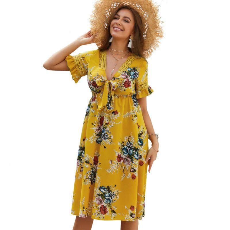التصميم الأصلي المرأة الساخن بيع شاطئ فستان زهري المطبوعة 2019 الصيف الخامس الرقبة اللباس الأصفر