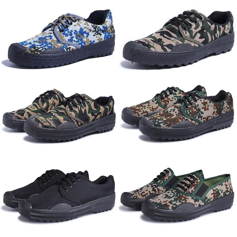 Ucuz kanvas ayakkabı erkekler kadınlar Kamuflaj Askeri Kamp Yürüyüş Lacivert Kaymaz koşucu erkek eğitici spor ayakkabı boyutu 36-44 color23