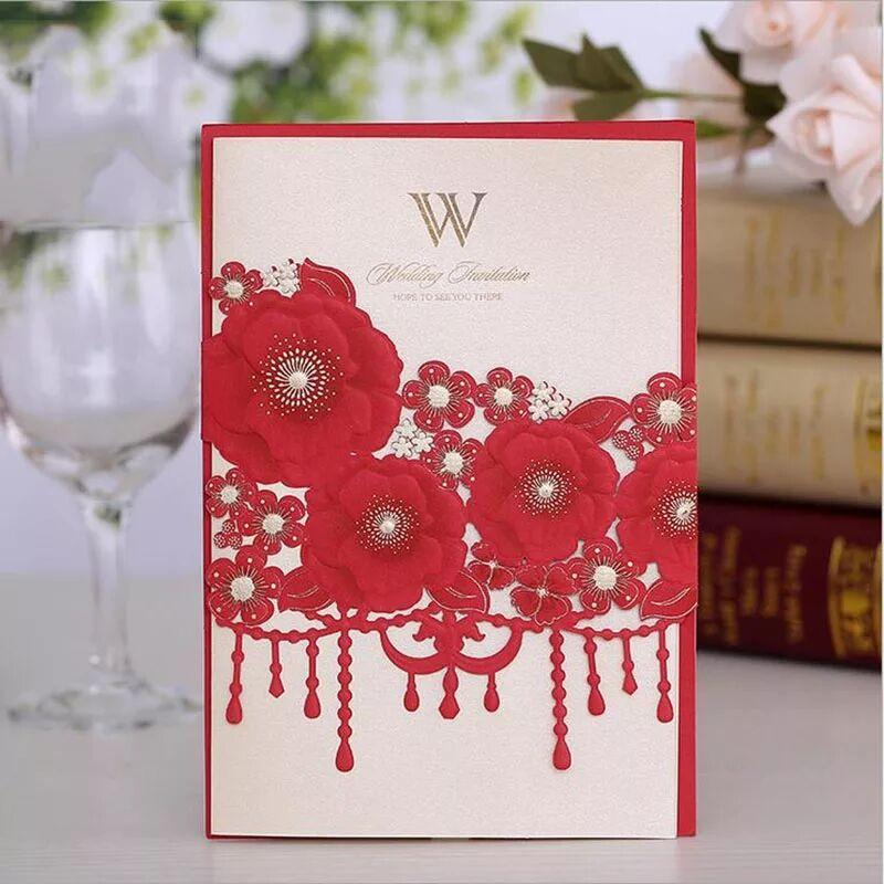 Sample Laser Cut Wedding Invitations Card Rose Lace Curtain Elegant Greeting Card Customize Wedding Party Favor Decoration