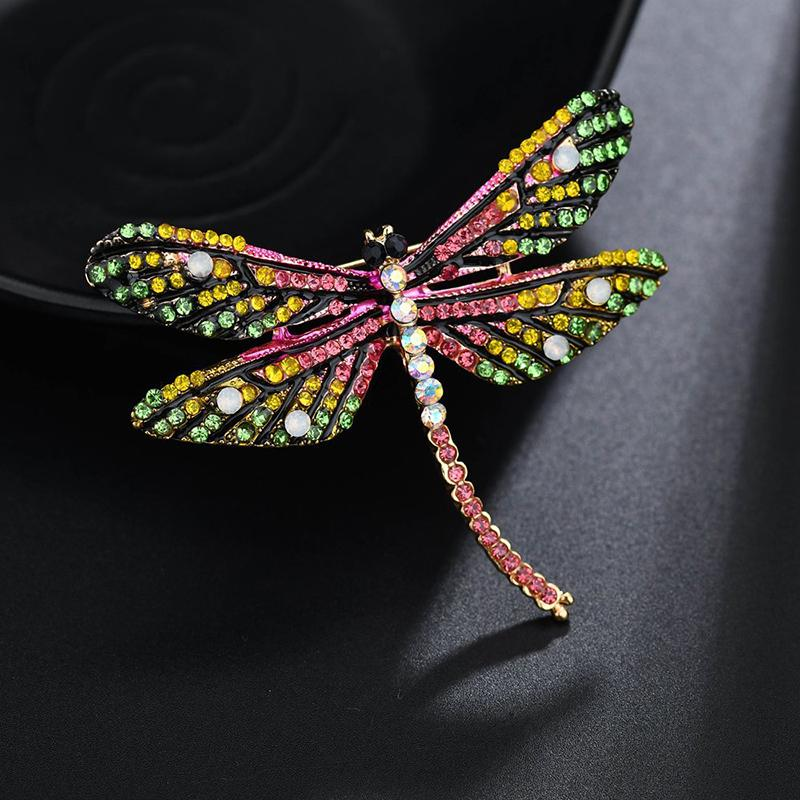 YADA 2020 الإضافية PinsBrooches كريستال اليعسوب الحشرات لطية صدر السترة دبوس الملابس وشاح المجوهرات حجر الراين اليعسوب دبابيس BH200034