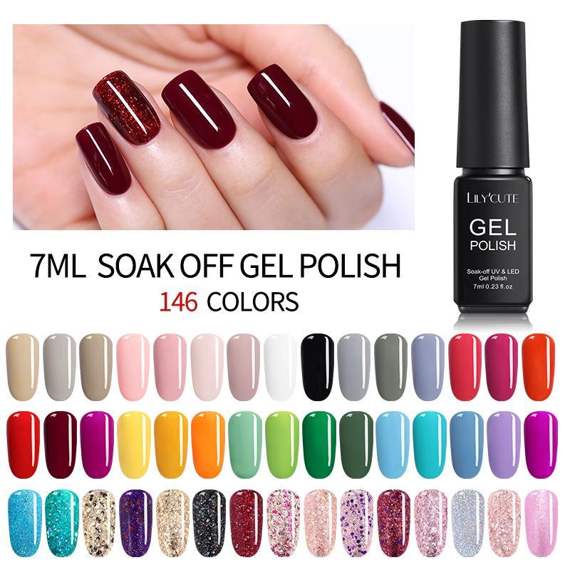 LILYCUTE 7ML UV Gel Varnish Nail Polish Set For Manicure Gellak Semi  Permanent Hybrid Nails Art Off Prime White Gel Nail Polish Gelous Nail Gel  Nail ...