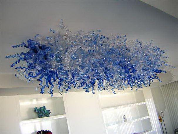 2019 Lampadario in vetro soffiato blu a buon mercato Lampada a sospensione decorativa a soffitto alto in vetro di Murano Design moderno