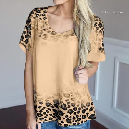 Одежда Crew Neck женщин Tshirts Лето Slim с коротким рукавом Sexy Ladies Топы Leopard печати Тройники Женский