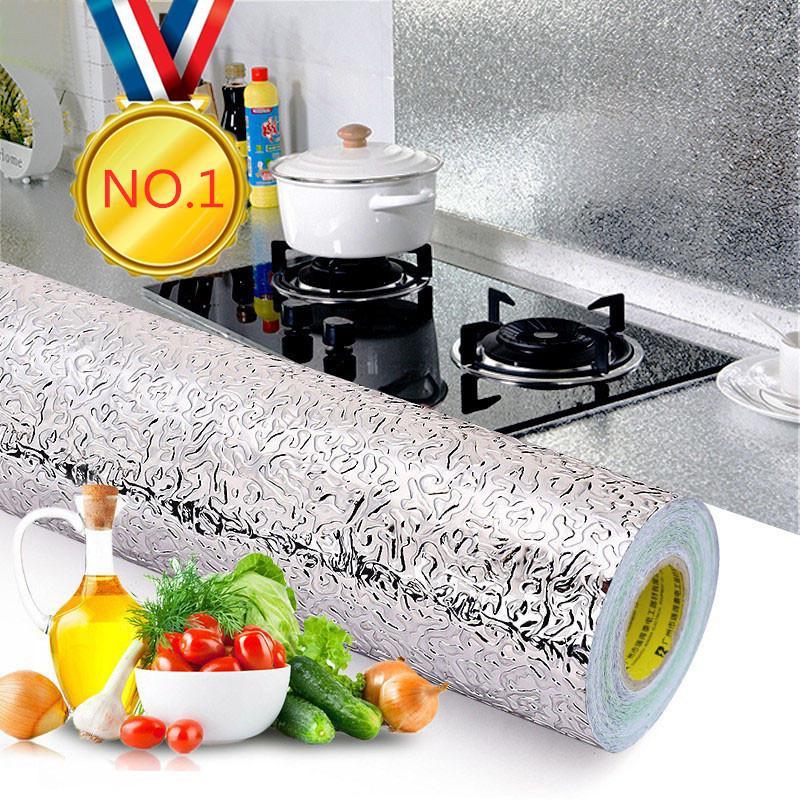 Cuisine 40x100cm huile épreuve Stickers étanche en feuille d'aluminium de cuisine Cuisinière Cabinet auto-adhésif autocollant mur bricolage Fond d'écran