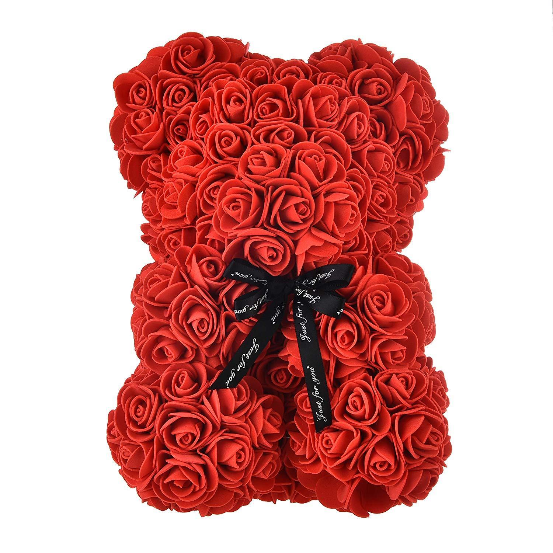 روز زهرة الدب تجميعها بشكل كامل 10 بوصة Hugz الدب الاصطناعي، الزهور هدية لعيد الأم عيد الحب الذكرى حمام العروس