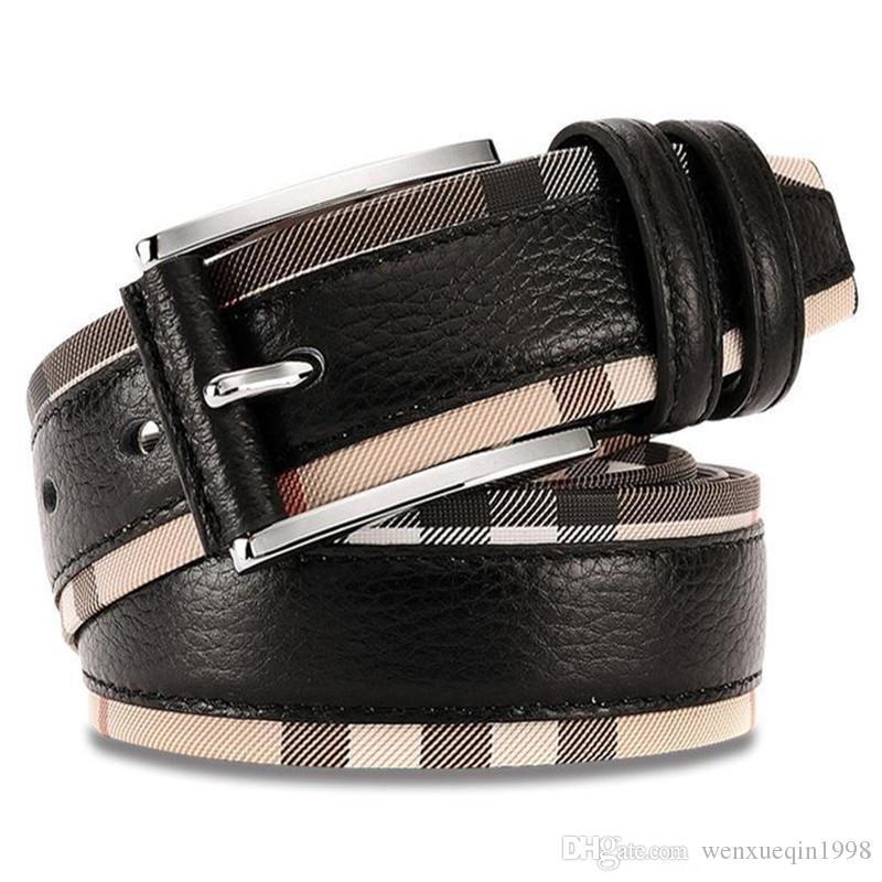 أسلوب جديد فاخر اصلي حزام جلد طبيعي للرجال والنساء أزياء السلس / دبوس مشبك معدني لحزام منقوش مصمم حزام جودة عالية جلد البقر جينز حزام