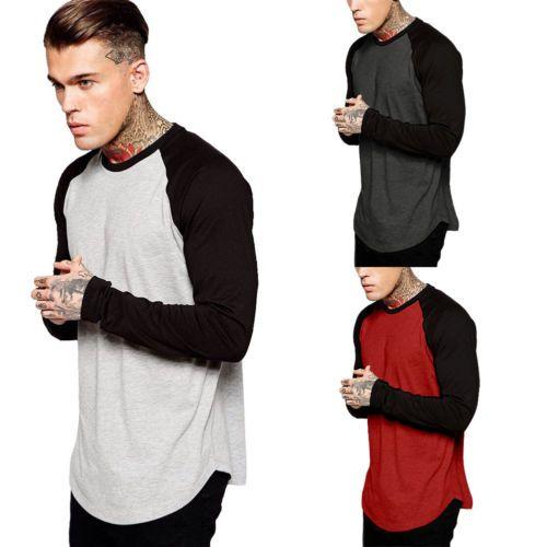 Erkekler Beyzbol Uzun Kollu Tişört Ekip Moda Spor Takımı Jersey Raglan Tee Pamuk Tees İçin Erkekler
