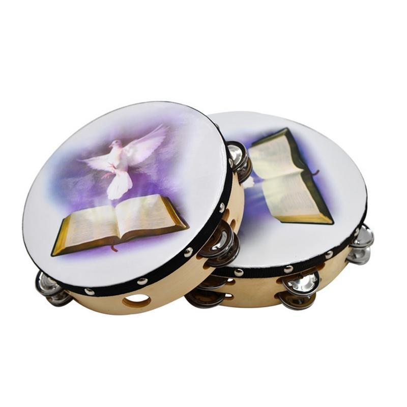 10 Inch Musical Tambourine Reflective Percussion Wooden Frame Double Row Metal Jingle Church Band Musical Instruments Gifts