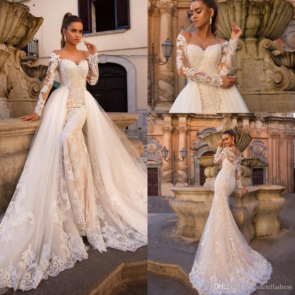 2020 Modern Lace Mermaid Wedding Dresses With Detachable Skirt Sheer Tulle Long Sleeves Sweep Train Wedding Bridal Gowns robes de mariée