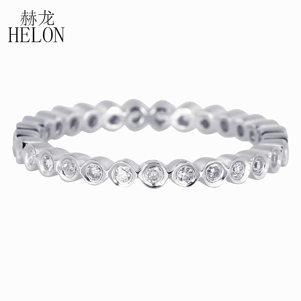 Ronda certificado oro blanco sólido 14K Hélon 0.2ct Diamantes naturales genuinos de compromiso de la boda anillo, la mujer exquisita joyería fina S200117