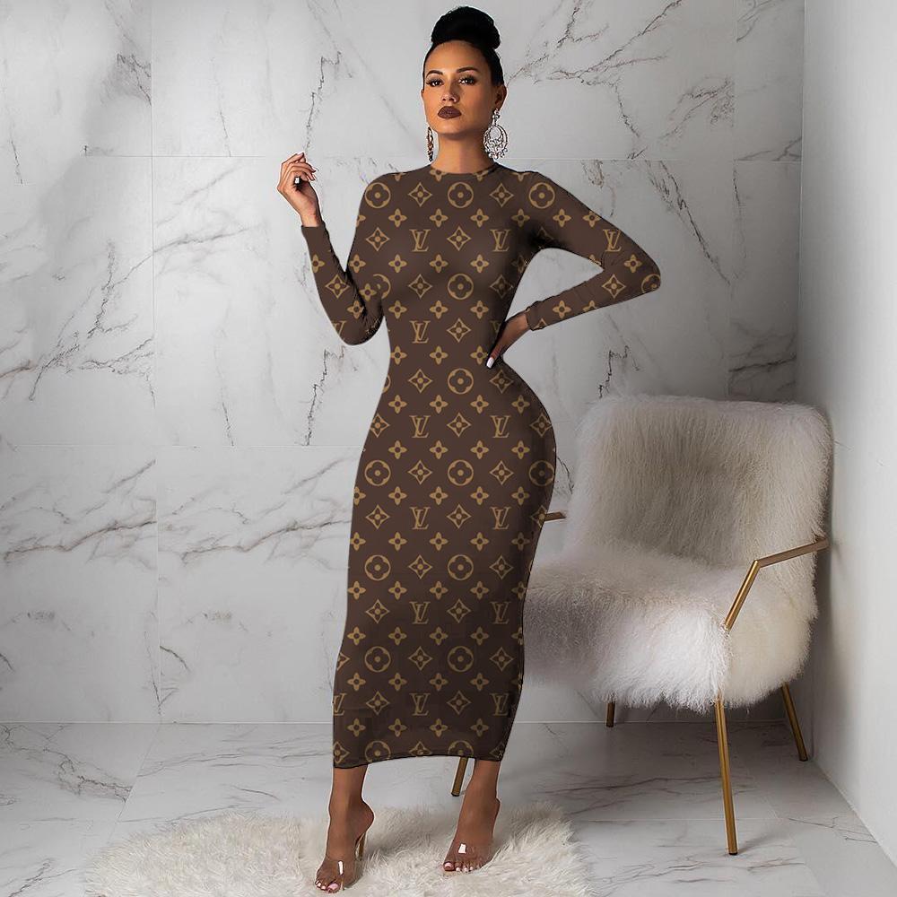 3Y205 2020 Maxi Dresses For Womens Bandage Bodycon Winter Designer Soft Stretch Black Party Dress Skinny Sexy Club Wear Gorgeous Warmly Clot