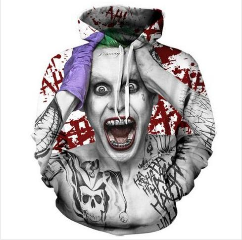 Out Fashion Streetwear 3D HD Stampa Casual Suicide Squad Joker Felpe con cappuccio Felpe Uomo Donna con cappuccio Giacca Cappotto LMS089