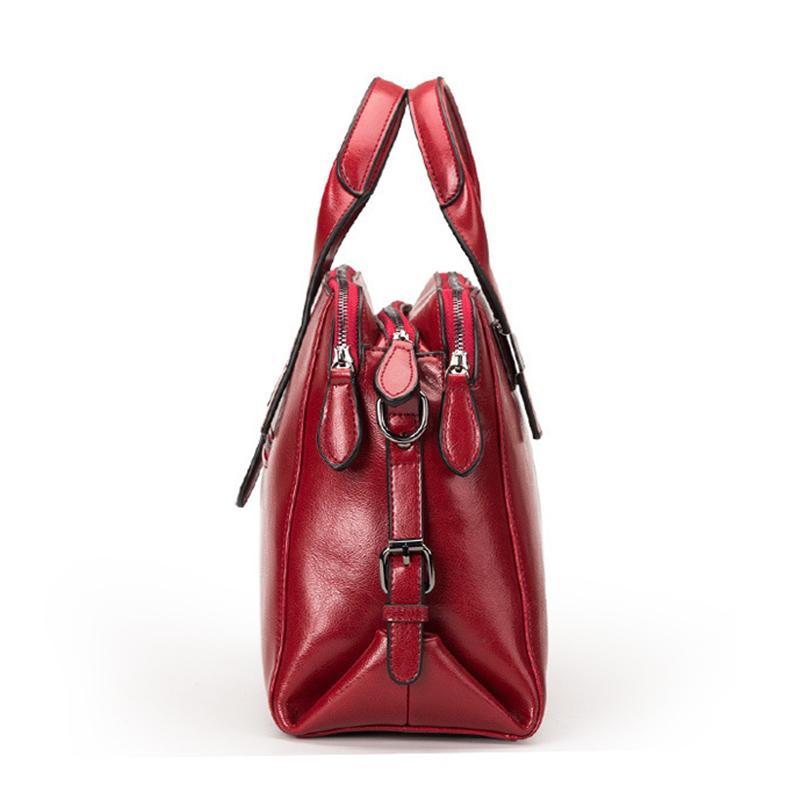 Echtes Leder-Frauen Totes Luxus-Handtaschen-Doppelt-Reißverschluss-Entwurfs-Damen Schultertasche Designer Echt Kuhfell Handtasche Sac A Haupt MX200327