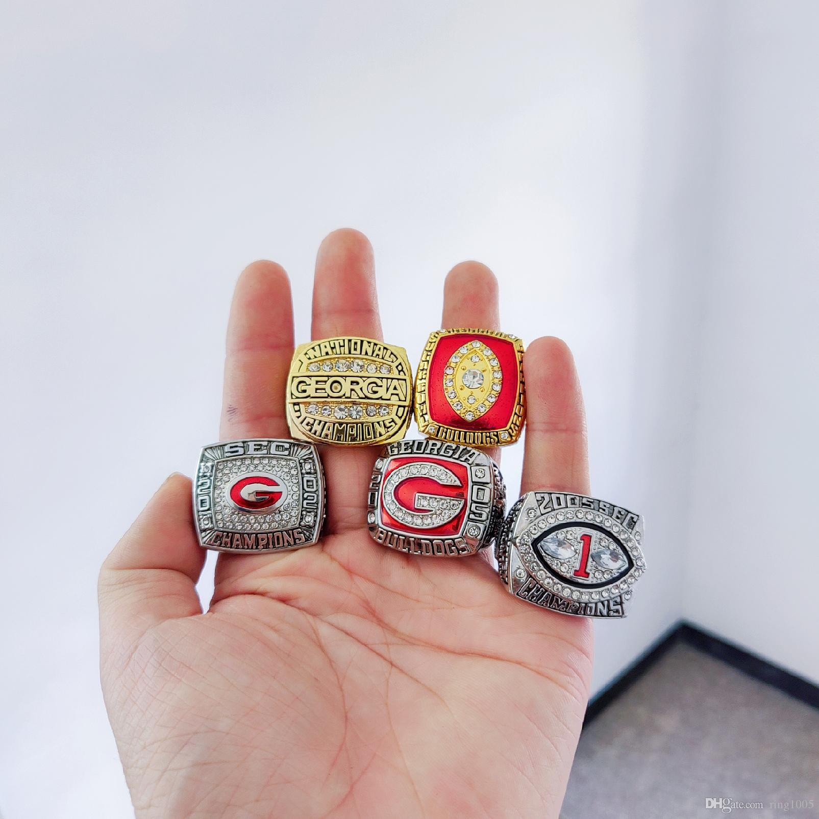 2019 toptan 1980 2002 2003 2005 Georgia Bulldogs SEC Şampiyonası Yüzük 5 adet / takım Hatıra Erkekler Fan Hediye Damla Nakliye