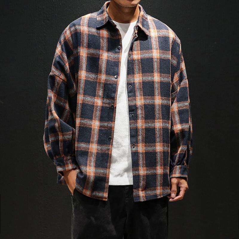 modis Herren karierten Flanellhemden Hip-Hop-Männer Hemdärmel lang Street Mantel lose beiläufige Shirt 5XL plus Größe hombre Kleidung