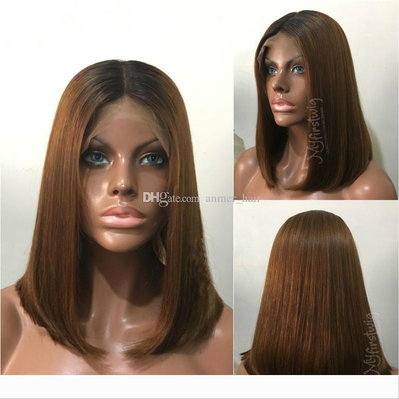 İnsan Saç Bob Peruk Ombre T1B 30 Brezilyalı Virgin Saç 130 Sıklığı Doğal Saç Çizgisi ile Bebek Saç ağartılmış Knots Tutkalsız